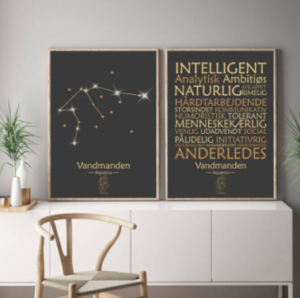 stjernetegn plakat med-dansk-tekst-og-design